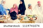 muslim family having a ramadan... | Shutterstock . vector #1119741074