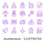 baby toy thin line icons set.... | Shutterstock .eps vector #1119750734