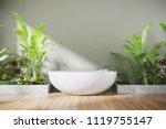 3d render  modern bathroom with ... | Shutterstock . vector #1119755147