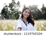 asian women happy smile on...   Shutterstock . vector #1119765104
