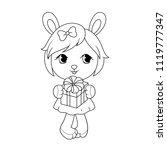cute baby rabit girl in dress ... | Shutterstock .eps vector #1119777347