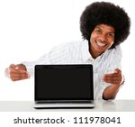 Man showing the screen of a laptop - isolated over white background - stock photo
