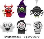 cartoon halloween characters... | Shutterstock .eps vector #111979079