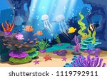 beautiful coral reefs and fish... | Shutterstock .eps vector #1119792911