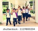 happy kids at elementary school | Shutterstock . vector #1119800204