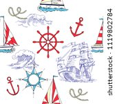 nautical seamless pattern with... | Shutterstock . vector #1119802784