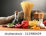 pasta spaghetti  vegetables and ... | Shutterstock . vector #111980429