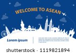 famous landmark of asean travel ... | Shutterstock .eps vector #1119821894