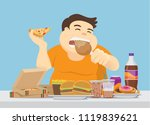 fat man enjoy with a lot of... | Shutterstock .eps vector #1119839621
