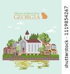 georgia usa postcard. peach...   Shutterstock .eps vector #1119854267