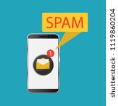 attention spam message. spam...   Shutterstock .eps vector #1119860204