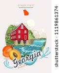 georgia usa postcard. peach... | Shutterstock .eps vector #1119861374