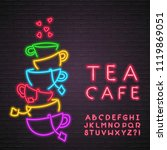 tea cafe cup icon neon light... | Shutterstock .eps vector #1119869051