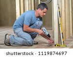 young professional worker uses... | Shutterstock . vector #1119874697