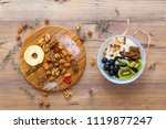 top view of mixed food and nuts ... | Shutterstock . vector #1119877247