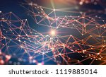 global network. blockchain 3d... | Shutterstock . vector #1119885014