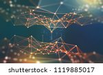global network. blockchain 3d... | Shutterstock . vector #1119885017