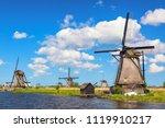 famous windmills in kinderdijk... | Shutterstock . vector #1119910217