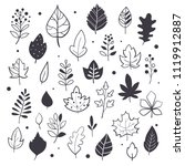 autumn leaves  hand drawn style ... | Shutterstock .eps vector #1119912887