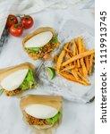 delicious homemade meals  ...   Shutterstock . vector #1119913745