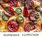 pizza with peperoni  cheese ... | Shutterstock . vector #1119917639
