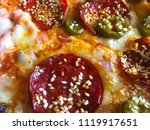 pizza with peperoni  cheese ... | Shutterstock . vector #1119917651