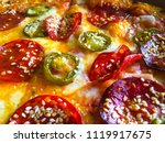 pizza with peperoni  cheese ... | Shutterstock . vector #1119917675