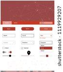 light red vector ui ux kit in...