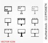 billboard icon vector | Shutterstock .eps vector #1119934874