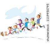 three generation family running ... | Shutterstock . vector #1119950795