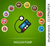 insulin pump flat icons concept.... | Shutterstock .eps vector #1119963914