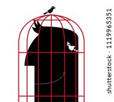 the head is in a birdcage.two... | Shutterstock .eps vector #1119965351