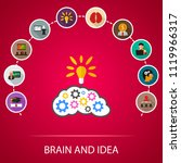 brain and idea flat icons... | Shutterstock .eps vector #1119966317