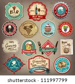 Collection of vintage retro grunge wine, beer, restaurant cafe and bar labels, badges and icons | Shutterstock vector #111997799