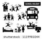 children school holiday. stick... | Shutterstock .eps vector #1119981044