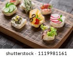 set of different mini canapes... | Shutterstock . vector #1119981161