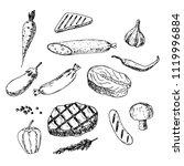 hand drawn set of foods. vector ... | Shutterstock .eps vector #1119996884