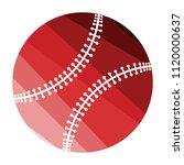 baseball ball icon. flat color...