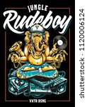 ganesha dj sitting on... | Shutterstock .eps vector #1120006124