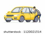 Car thief - cartoon people characters illustration isolated on white background. High quality composition with a criminal, burglar breaking into a yellow car with a crowbar. Vehicle insurance concept - stock vector