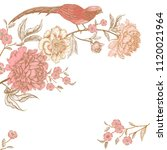 card with flowers and birds.... | Shutterstock .eps vector #1120021964