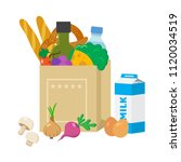 paper package with products....   Shutterstock .eps vector #1120034519
