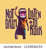 design not calm listen to rock... | Shutterstock .eps vector #1120036154