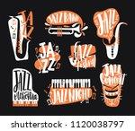 set of jazz music lettering... | Shutterstock .eps vector #1120038797
