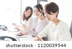 group of businesswoman in the... | Shutterstock . vector #1120039544