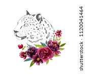 leopard and burgundy flowers ... | Shutterstock . vector #1120041464