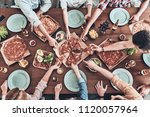 everybody loves pizza. close up ... | Shutterstock . vector #1120057964
