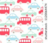 cute colorful buses and cars... | Shutterstock .eps vector #1120064474