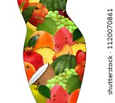 female body with fruits. proper ... | Shutterstock .eps vector #1120070861