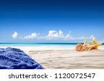 summer photo of beach with... | Shutterstock . vector #1120072547